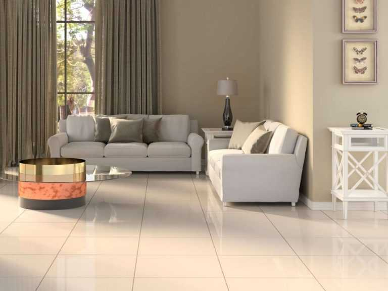Ivory polished porcelain floor tiles